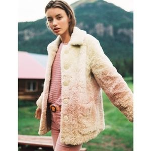 🍒NWT🍒 ANTHROPOLOGIE FAUX FUR OMBRE COAT